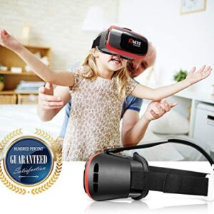 BNEXT VR Headset Compatible with iPhone & Android Phone – Universal Virtual Reality Goggles – Play Your Best Mobile Games 360 Movies with Soft & Comfortable New 3D VR Glasses | Red | w/Eye Protection