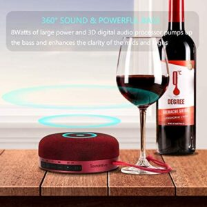 Burgundy Color Soundnova N1 8W 3D Bass Shower Speaker, IPX5 Waterproof Speaker, 15H Music, Premium Small Portable Wireless Bluetooth Speaker for iPhone Phone Tablet Gift Party- Travel Case Included