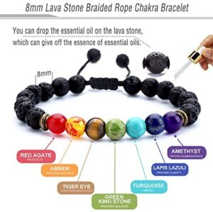 Hamoery Men Women 8mm Lava Rock 7 Chakras Aromatherapy Essential Oil Diffuser Bracelet Braided Rope Natural Stone Yoga Beads Bracelet Bangle