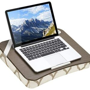 LapGear Designer Lap Desk with Phone Holder and Device Ledge – Beige Quatrefoil – Fits up to 15.6 Inch Laptops – Style No. 45426