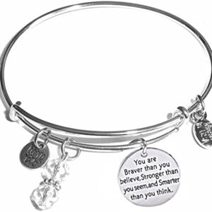 Hidden Hollow Beads Women's Made in USA Stainless Steel Message Charm Expandable Wire Bangle Bracelet, Popular, Stylish and Trendy, Arrives in a Gift Box.