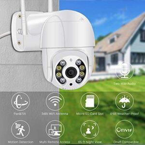 Pan Tilt Outdoor Security Camera,1080P Home WiFi IP Camera, Pan Tilt Dome Surveillance Cam, Two Way Audio Motion Detection 196ft Night Vision Onvif Waterproof CCTV Camera