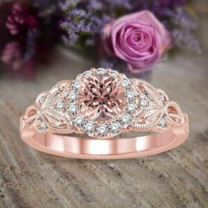 1.25 Carat Peach Pink Morganite (Round Cut Morganite) Diamond Engagement Ring 10k Rose Gold Jewelry