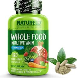 NATURELO Whole Food Multivitamin for Men 50+ – with Natural Vitamins, Minerals, Organic Extracts – Vegan Vegetarian – Best for Energy, Brain, Heart and Eye Health – 120 Capsules