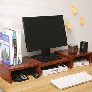 Superjare Monitor Stand Riser, Adjustable Screen Stand for Laptop Computer/TV/PC, Multifunctional Desktop Organizer – Walnut Brown