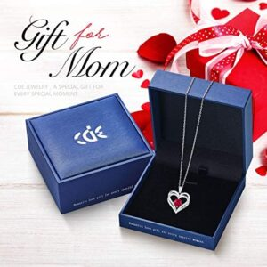 Heart Necklace 925 Sterling Silver Rose Gold Plated 5A Cubic Zirconia Birthstone Pendant Necklaces for Women Mother Days' Jewelry Gift with Box