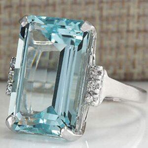 Goddesslili Classic Sky Blue Aquamarine Rings for Women Girlfriend Vintage Wedding Engagement Anniversary Simple Jewelry Gift Under 5 Dollars