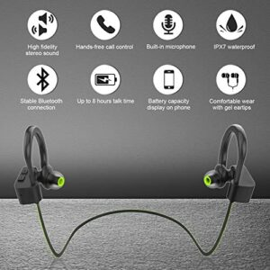 LETSCOM Bluetooth Headphones IPX7 Waterproof, Wireless Sport Earphones, HiFi Bass Stereo Sweatproof Earbuds w/Mic, Noise Cancelling Headset for Workout, Running, Gym, 8 Hours Play Time, GreenBlack