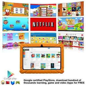 Contixo V8-2 Kids Tablet – 16 GB ROM – 7″ Display Learning Education Apps Pre-Installed – HD Display with WiFi Camera – Kids Games Ages 3 and up on Certified Google Play Store (Orange)
