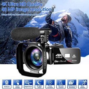 4K Camcorder Digital Camera Video Camera WiFi Vlogging Camera Camcorders with Microphone Full HD 1080P 30FPS 3″ HD Touch Screen Vlog Camera for YouTube with IR Night Vision and Remote Control