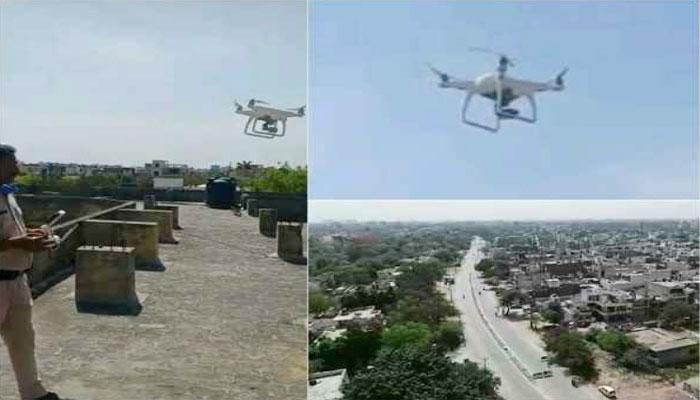 पुलिस ने ड्रोन के जरिए की भीड़भाड़ वाले एरिया की निगरानी