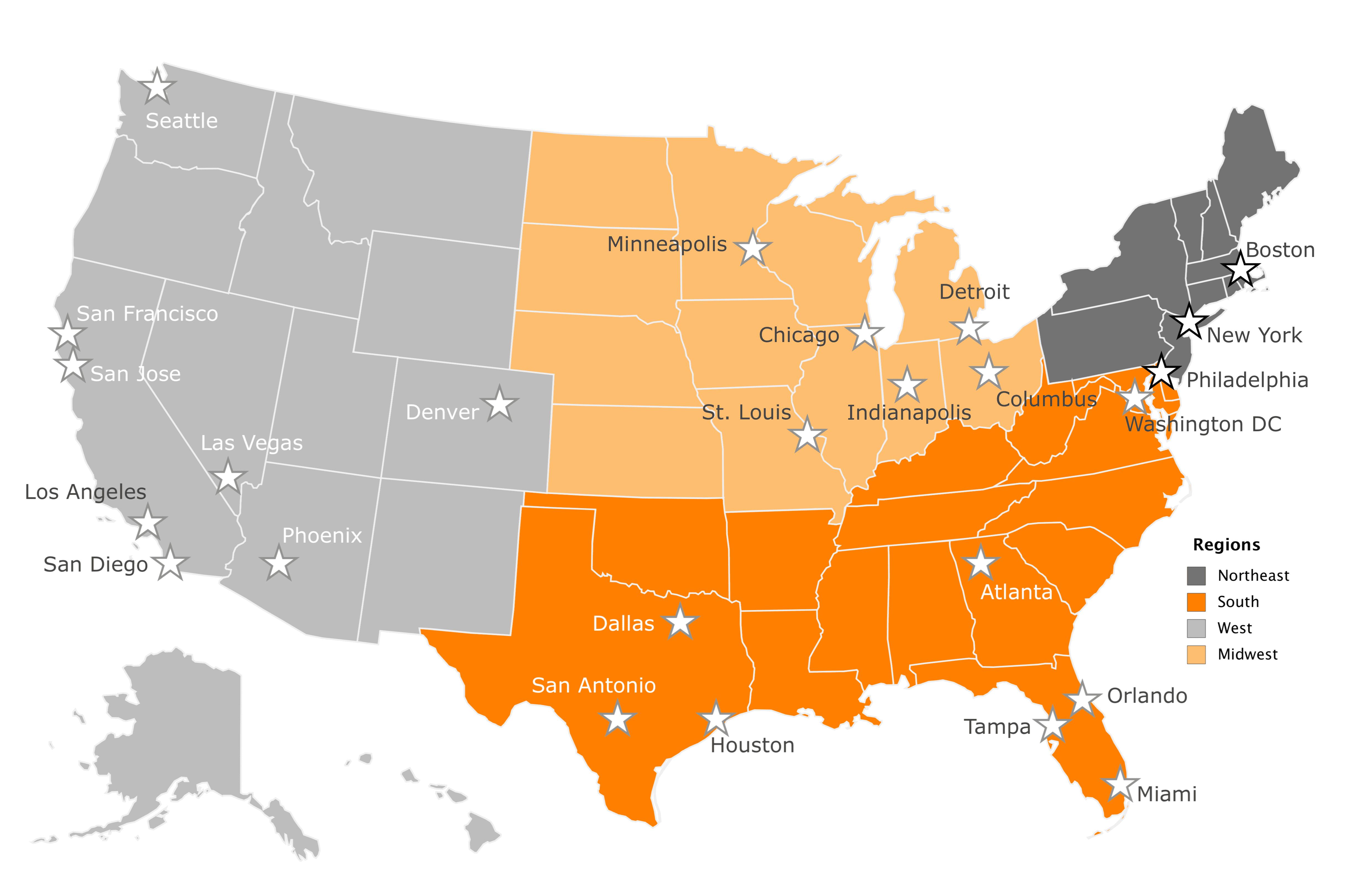 US Map HCI Metro Coverage