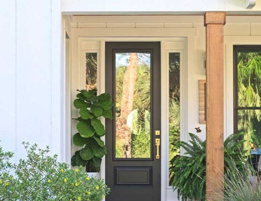 farmhouse front porch, black door, brass hardware, fiddle leaf fig, white house, brick porch, fern
