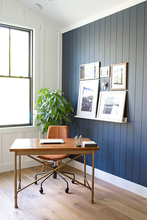 home office navy blue wall shiplap vertical west elm slope chair ikea desk money tree board and batten