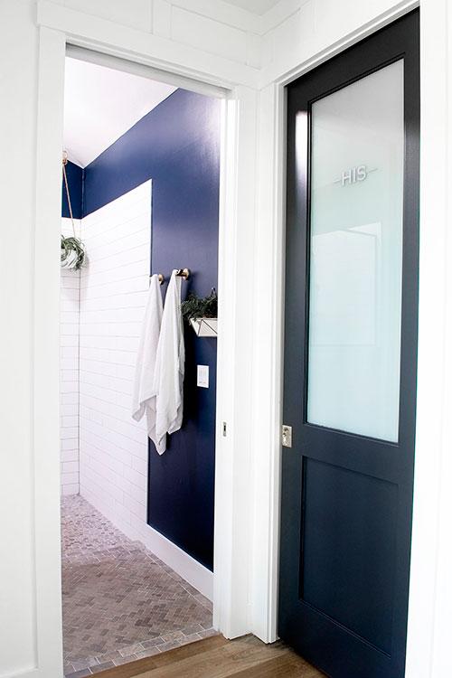 farmhouse bathroom shower black doors navy blue paint hanging plant