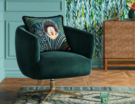 Morpho Swivel Velvet Arm Chair - Opalhouse