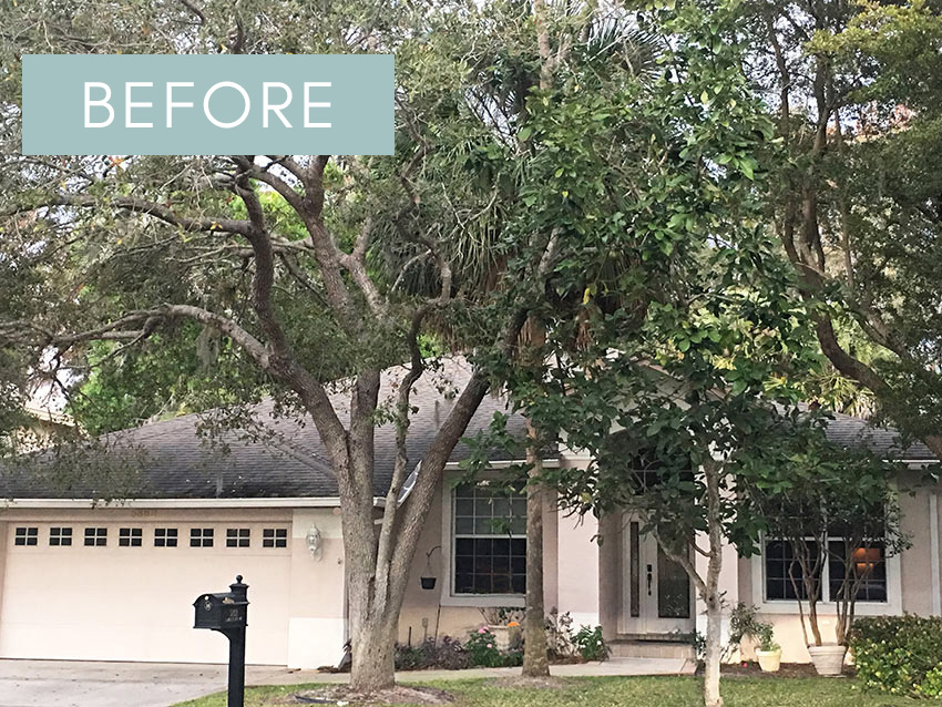 Before and After French Country Curb Appeal Makeover on a Typical Florida Stucco House