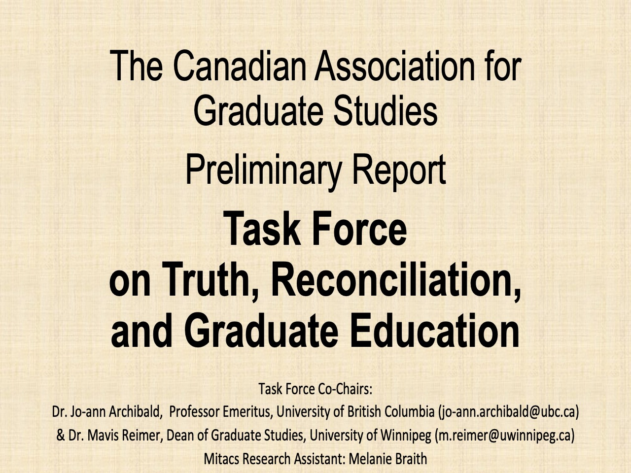 CAGS Task Force on Truth, Reconciliation, and Graduate Education