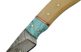 Damascus – Fixed Blade Turquoise and Bone Skinner