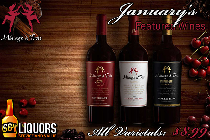Ménage à Trois Winery - January's Featured Wines at S&V Liquors