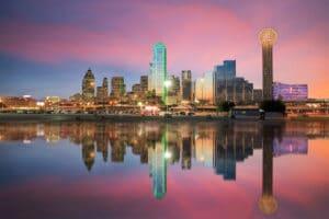 Dallas city skyline at sunset