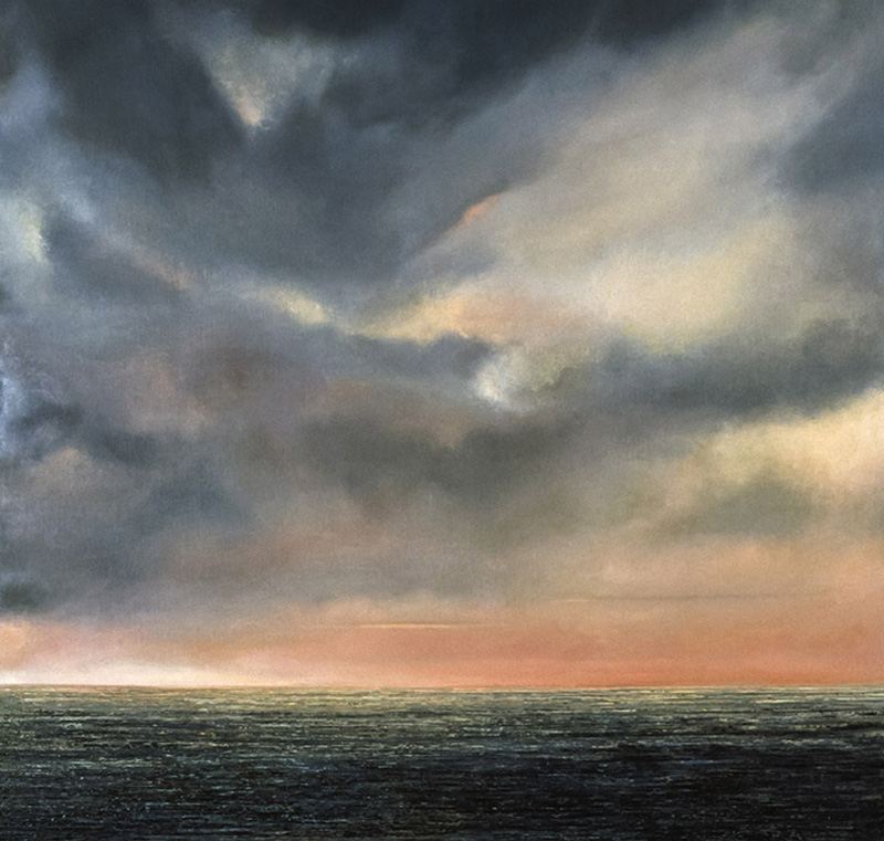 """Evening at Sea Oil on linen, 62"""" x 50"""" 1989"""