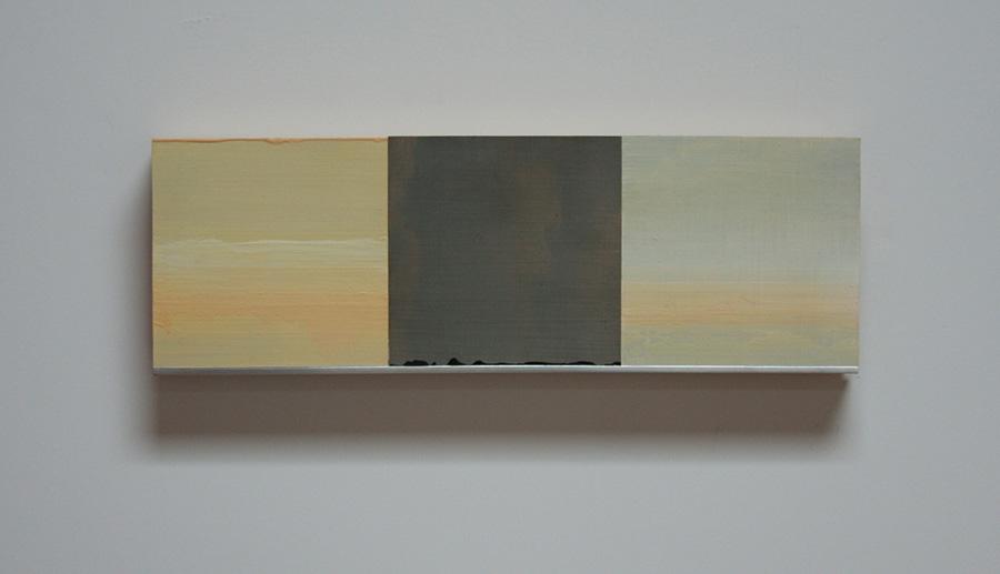 "White Wind Series II Oil, paper, balsa, mounted on 3/4"" birch ply 4""x 12"" 2014"