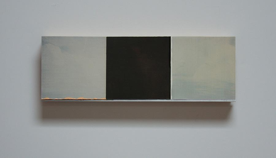 "White Wind Series III Oil, paper, balsa, mounted on 3/4"" birch ply 4""x 12"" 2014"
