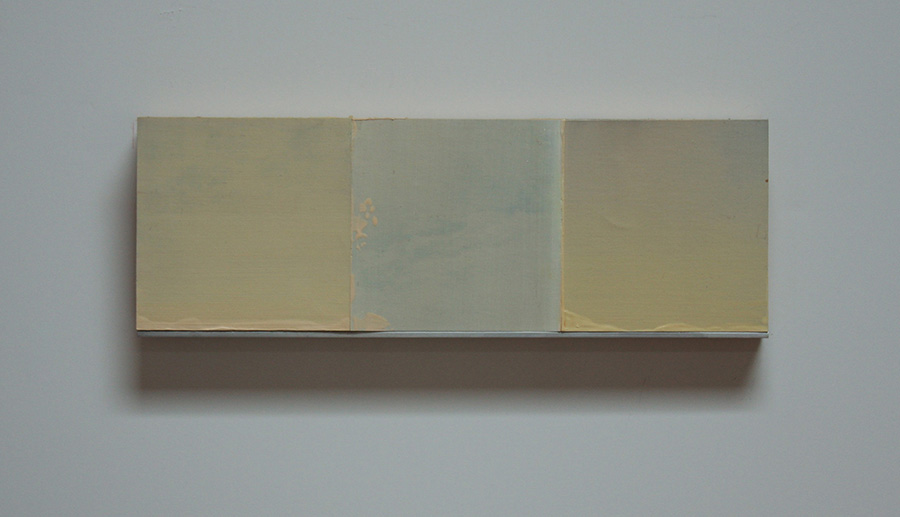 """White Wind Series IV Oil, paper, balsa, mounted on 3/4"""" birch ply 4""""x 12"""" 2014"""