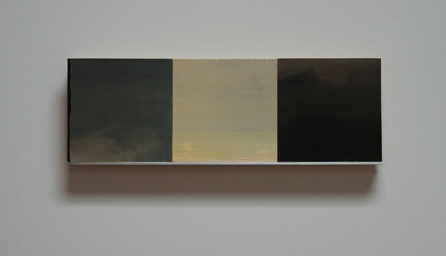 "White Wind Series VI Oil, paper, balsa, mounted on 3/4"" birch ply 4""x 12"" 2014"