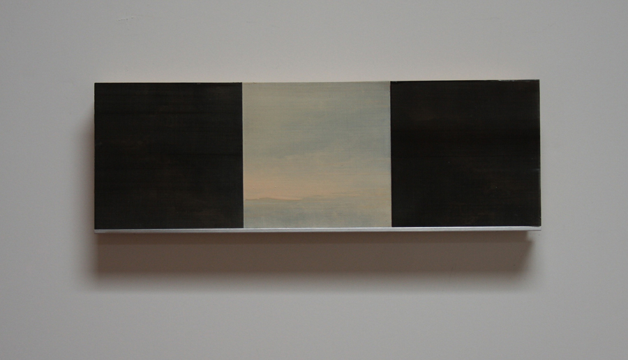 """White Wind Series VII Oil, paper, balsa, mounted on 3/4"""" birch ply 4""""x 12"""" 2014"""