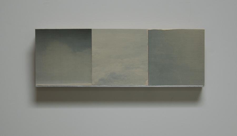 "White Wind Series VIII Oil, paper, balsa, mounted on 3/4"" birch ply 4""x 12"" 2014"
