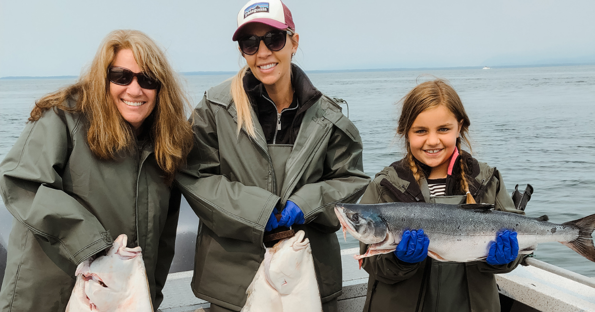 Family enjoying an Alaskan fishing vacation.