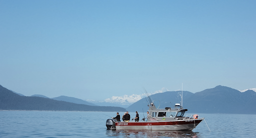 Alaskan Anglers fishing crew out on the beautiful waters of Gustavus, Alaska.