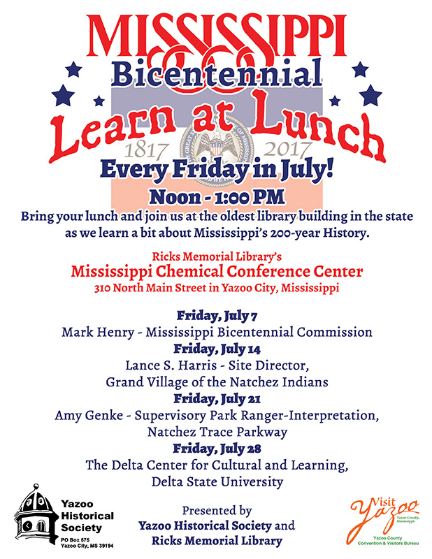"""Mississippi Bicentennial """"Learn at Lunch"""""""