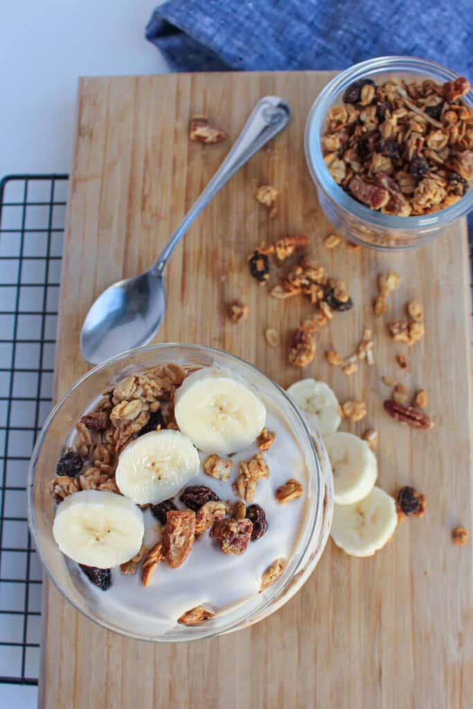 vegan yogurt parfait with banana and granola