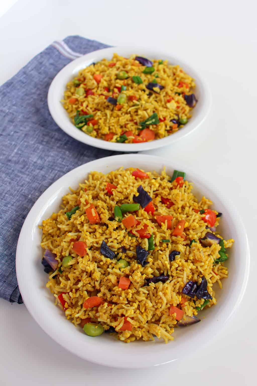 2 plates of gluten free, vegan low-FODMAP fried rice