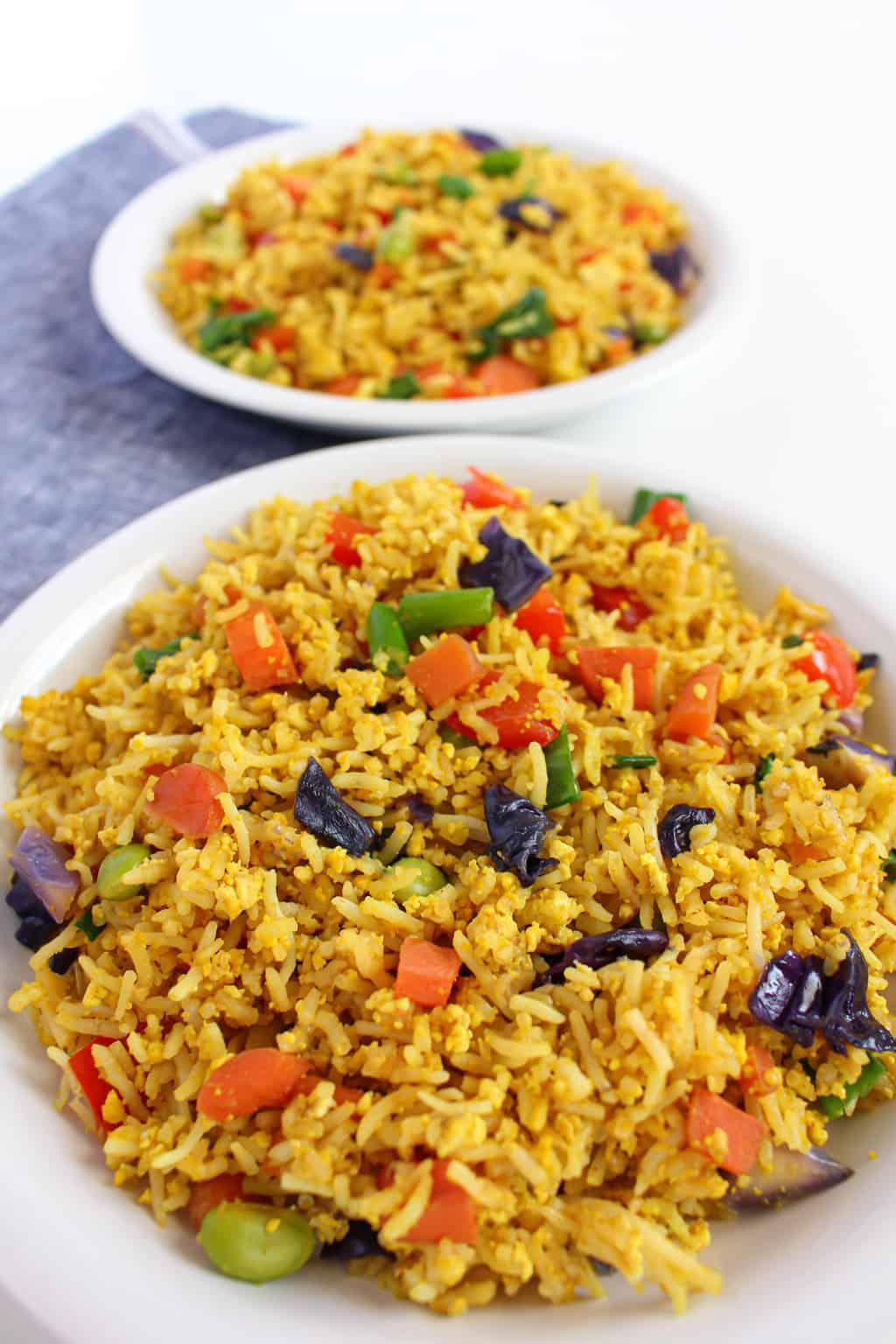 2 plates of gluten free, vegan low FODMAP fried rice