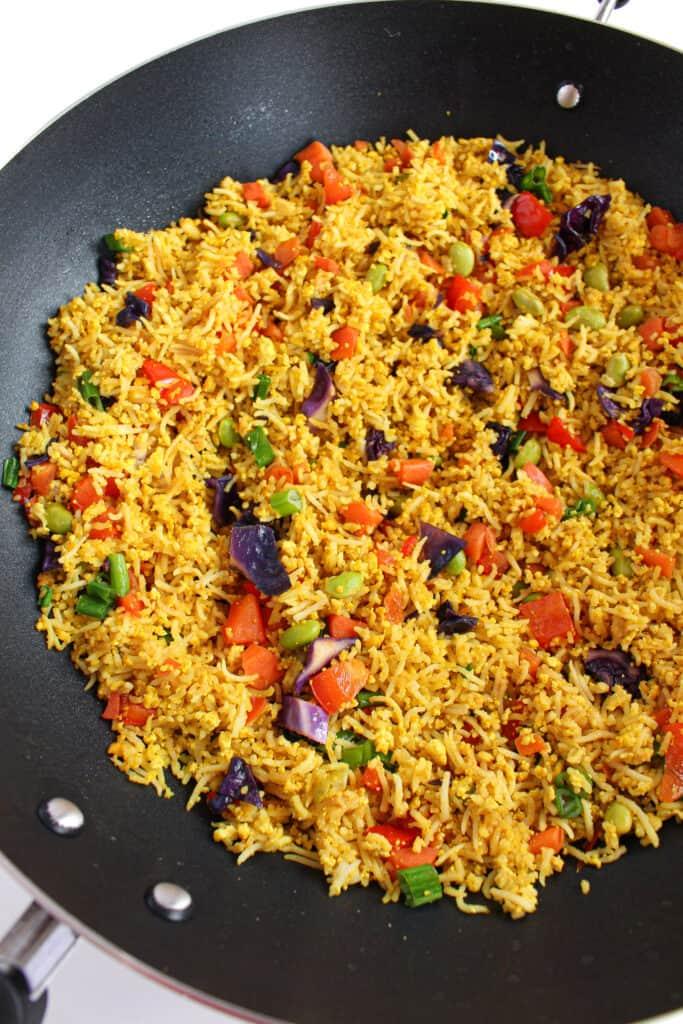 vegan low FODMAP fried rice in a large Wok