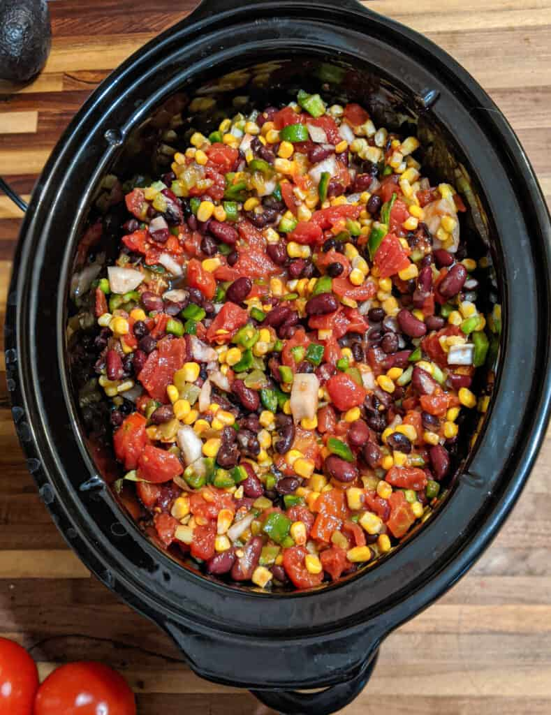 Healthy, vegan, gluten free chili in a slow cooker