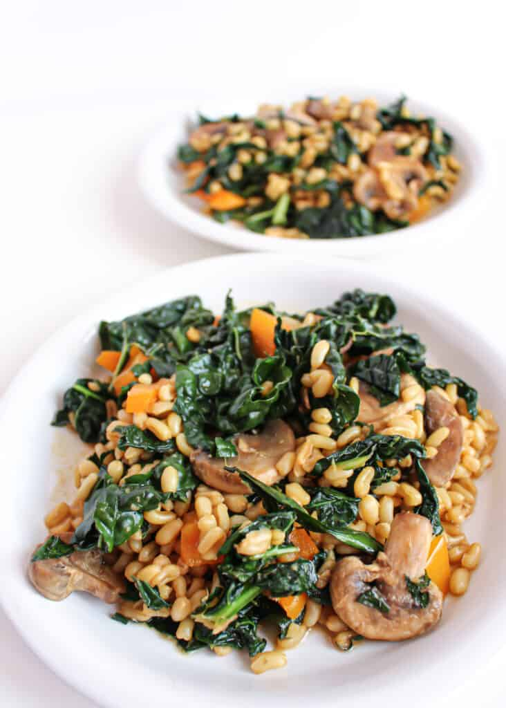 Kale and kamut salad served on 2 white plates. The salad had sauteed orange bell pepper and mushrooms in it.