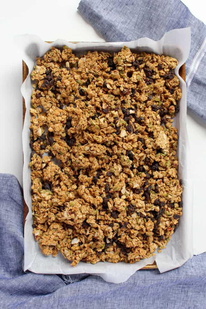 Large baking sheet with finished peanut butter granola on it