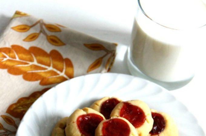 Strawberry Thumbprint Eggless Cookies