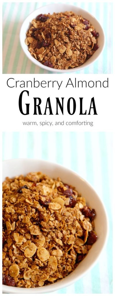 Cranberry Almond granola is a wonderful and healthy fall comfort food. With the spiciness of cinnamon and nutmeg, and toasty almonds, and a sweet touch of cranberry. Kid approved snack!