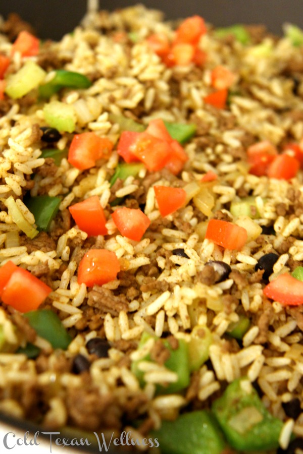 Healthy Dirty Rice with extra veggies - hearty, low calorie, delicious and so so satisfying!