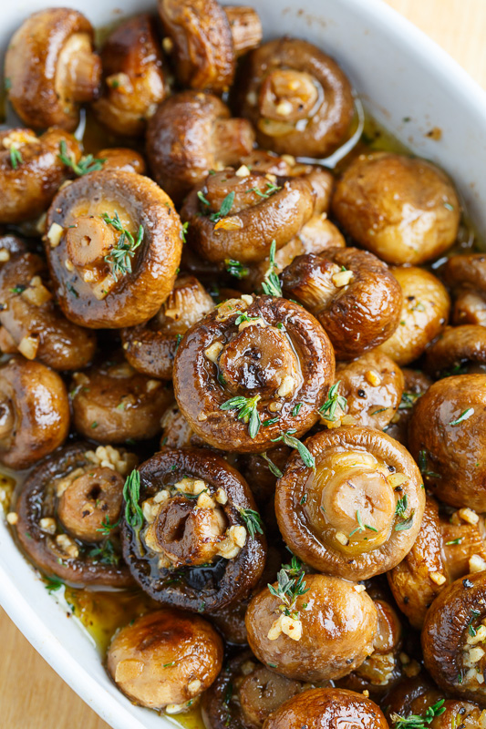 Homemade Romantic Dinners - Roasted Mushrooms in a Browned Butter Garlic and Thyme Sauce