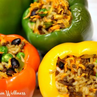 Healthy Cajun Stuffed Peppers. Fast, adjustable, and a fabulous way to use up leftovers!