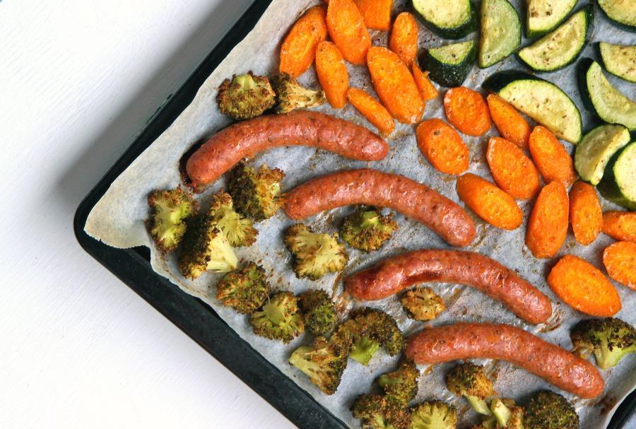 5 Ingredient Sausage Sheet Pan Dinner