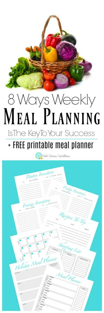 8 Ways Weekly Meal Planning Is The Key To Your Success plus FREE 8 page Printable Meal Planner