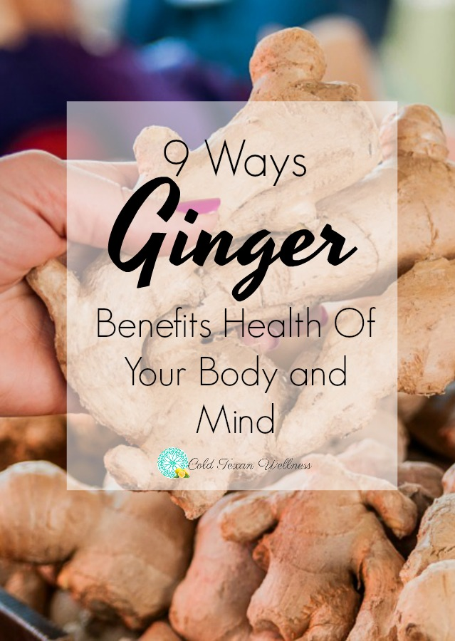 9 Ways ginger benefits health of the body and mind. Ginger contains so many health benefits that it truly needs to be a part of your natural health routine. It is one of those ancient herbal remedies that has survived the test of time for a good reason. Whether you make a tea, cook with it, use essential oils and extracts, and more, it is effective! What is your favorite way to heal with ginger? #naturalhealth #herbalremedies #ginger #healthyliving